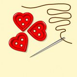 Heart bottoms, valentines day, needle Royalty Free Stock Photo