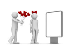 Heart bouquet. Love, valentine day series; 3d isolated characters Stock Photo