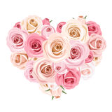 Heart bouquet of pink roses. Vector illustration. Royalty Free Stock Images