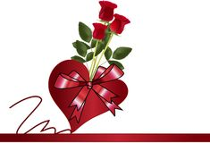 Heart and bouquet of red roses Royalty Free Stock Image