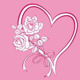 Heart with bouquet of roses Royalty Free Stock Images