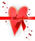 Heart with a bow. Heart with a red bow on a white background Royalty Free Stock Photography