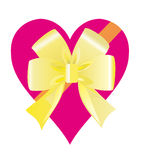 Heart with a bow. Red heart with a ribbon and a yellow bow Stock Photography