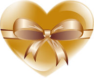 Heart with bow. Golden heart with bow on white background, vector ilustration Royalty Free Stock Photography