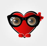 Heart with bow glasses Royalty Free Stock Photos