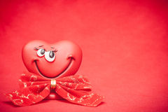 Heart with bow. Happy red love heart with bow Valentines Day background royalty free illustration
