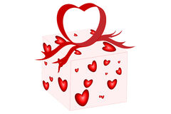 Heart Bow Present. Ready to be opened Stock Images