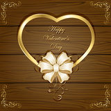 Heart and bow on wooden background. Wooden Valentines background with golden greetings and ornate elements, illustration Stock Photo