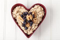 Heart Bowl of Oatmeal top view Stock Images