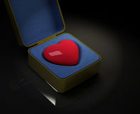 Heart in the box. On black reflective background. Valentines day theme royalty free illustration