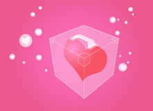 Heart in box. A heart shape in box, illustration Stock Photo