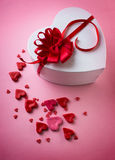 Heart box with a bow Royalty Free Stock Images