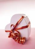 Heart box with a bow Stock Photos
