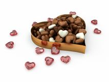 Heart box of candy chocolates Royalty Free Stock Image