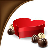 Heart box with chocolate praline Royalty Free Stock Photography