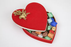 Heart box of chocolates Stock Images