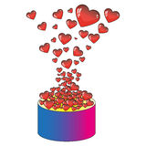 Heart box. Flow of red hearts out of the box stock illustration
