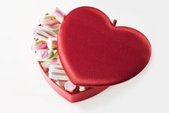 Heart box full of marshmallow Royalty Free Stock Photo