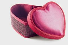 Heart Box isolated picture. A red heart box with cover ,there is white background stock photo
