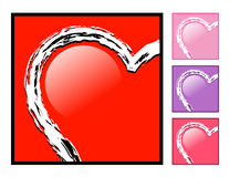 Heart in a Box Love Icon. Half of a heart is in a box. Choose from four colors.  Use it for love, an engagement or friendship Royalty Free Stock Photo