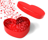 Heart Box Releasing Hearts Shows Spreading. Love Romance And Affection Stock Photography