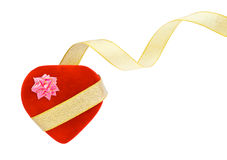 Heart box and ribbon Royalty Free Stock Image