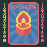 Heart box with ring flat design icon. Vector hot sale label. Stock Images