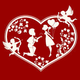 Heart with boy and girl inside. The design of the silhouette of a heart with cupids,lovers inside a guy with a bouquet of flowers and wedding ring, and girl with Stock Photos