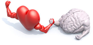 Heart and brain arm wrestling. Heart and human brain that make arm wrestling, 3d illustration Stock Images