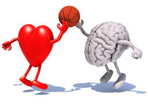 Heart and brain with arms and legs playing to a basket ball Royalty Free Stock Photos