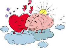 Heart and brain. Embrace each other with love. Digital illustration about emotion and reason stock illustration
