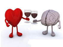 Heart and brain with glass of red wine Royalty Free Stock Photography