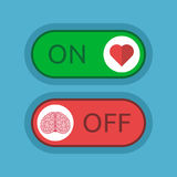 Heart on, brain off. Heart switched on and brain off on blue background. Love, emotion, intelligence and logic concept. Flat design. Vector illustration. EPS 8 vector illustration