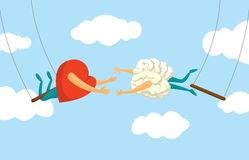 Heart and brain risky collaboration on flying trapeze Royalty Free Stock Photo