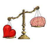 Heart and brain on scales. Choice concept. Balance between logic and emotion. Love and passion against reason. Cartoon hand drawn vector illustration in sketch Royalty Free Stock Photography