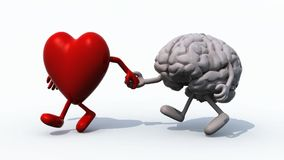 Heart and brain that walk hand in hand. 3d animation loop stock video footage