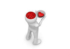 Heart on brainpan saucer - take my heart and brain Royalty Free Stock Photo
