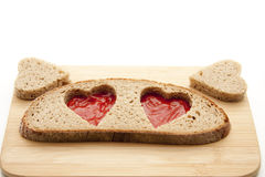 Heart in the bread Stock Photography