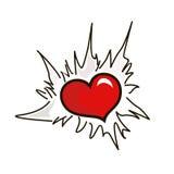 Heart in break. Heart through an aperture in a fragmentary paper royalty free illustration