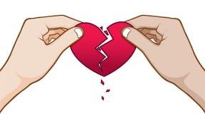 Heart break with hand vector background. Heart break cuuple vector background royalty free illustration