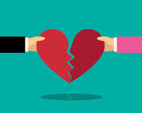Heart break with male and female hand, vector Stock Photos