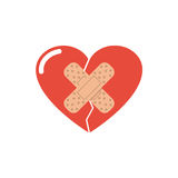 Heart break seal the plaster Royalty Free Stock Images
