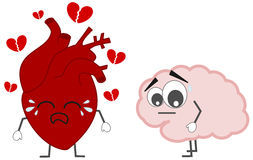Heart breaking versus brain concept illustration Royalty Free Stock Photography