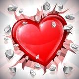 Heart Breaking Through Wall. Shiny red heart breaking through wall. Power of love concept Stock Photography