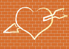 Heart with on a brick wall. Royalty Free Stock Photos