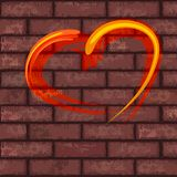 Heart on brick wall Royalty Free Stock Image