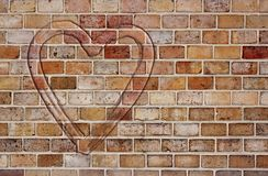 Heart on the brick wall Royalty Free Stock Photo