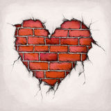 Heart of bricks. Illustration of a heart on a wall, which is made out of bricks Stock Photography