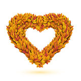 Heart of bright fall leaves. Vector illustration Royalty Free Stock Photos