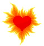 Heart with a bright flame. Red heart in a hot flame Royalty Free Stock Images